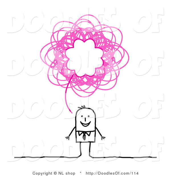 Vector Clipart of a Stick Figure Person Business Man with a Pink Scribble Thought Balloon