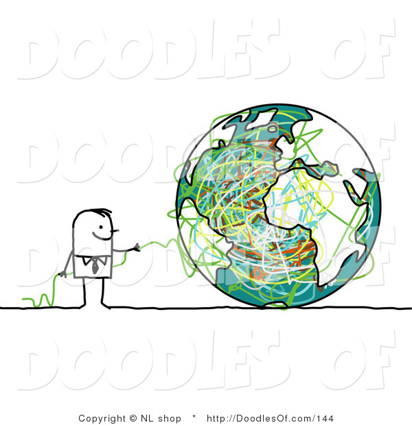 Vector Clipart of a Stick Figure Person Business Man with Strings and a Globe