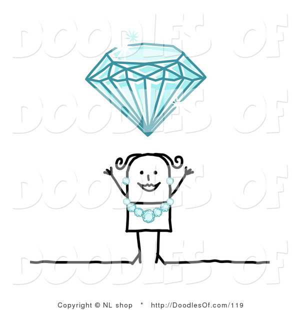 Vector Clipart of a Stick Figure Person Woman Wearing a Diamond Necklace and Earrings Under a Huge Diamond