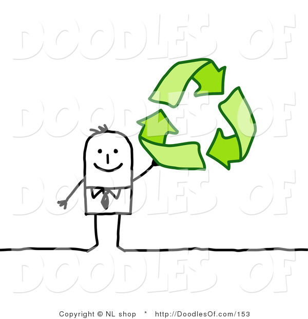 Vector Clipart of a Stick Person Business Man Holding up Green Recycle Arrows