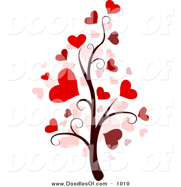 Vector Clipart of a Valentine Doodle Tree