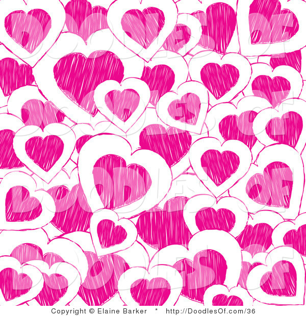 Vector Clipart of a Valentine's Day Background of Pink Doodle Hearts on White