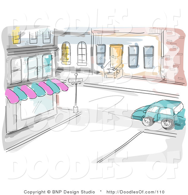 Vector Clipart of a Watercolor and Sketched City Street and Store Scene, a Car Driving past