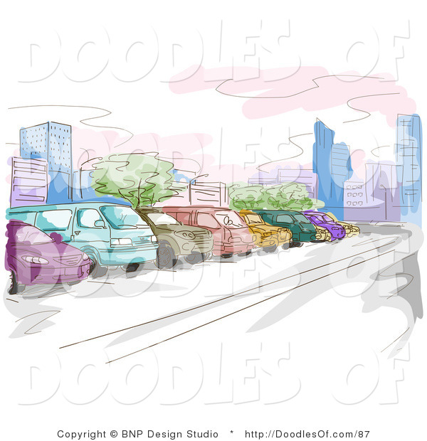 Vector Clipart of a Watercolor and Sketched Parking Lot Scene with Colorful Cars