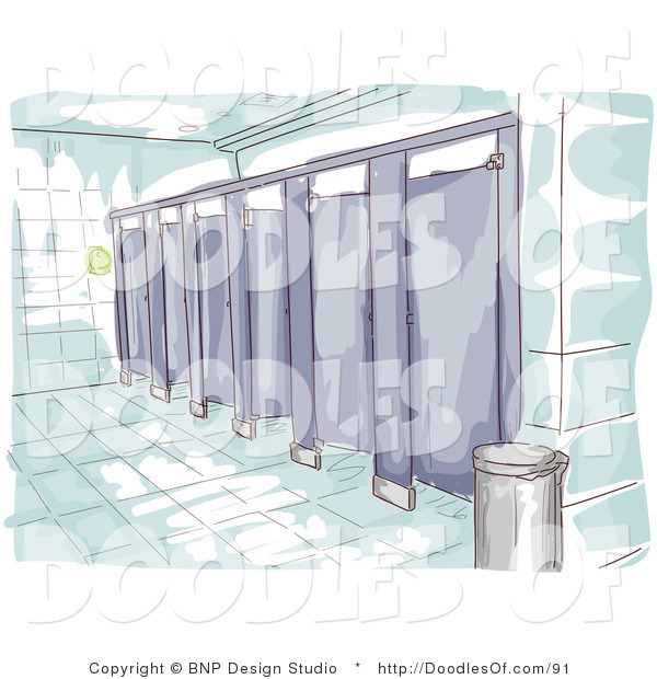 Vector Clipart of a Watercolor and Sketched Public Restroom Scene with Purple Stalls