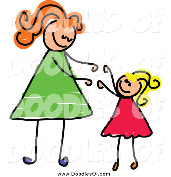 Vector Clipart of a White Blond Girl Reaching up to Her Mom