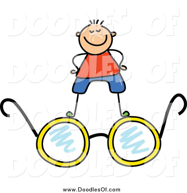 Vector Clipart of a White Doodled Boy Standing on Glasses