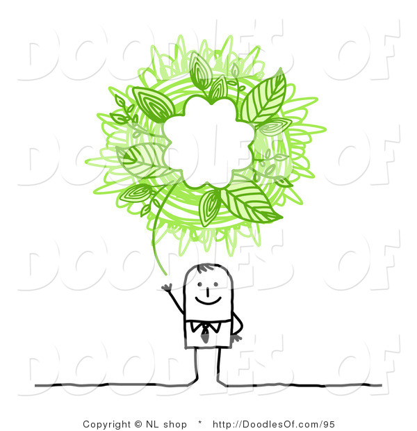 Vector Clipart of an Eco Friendly Stick Person Business Man with a Green Ecology Scribble Thought Balloon