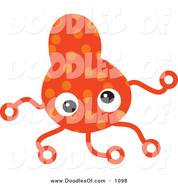 Vector Clipart of an Orange Germ Doodle with Tentacles