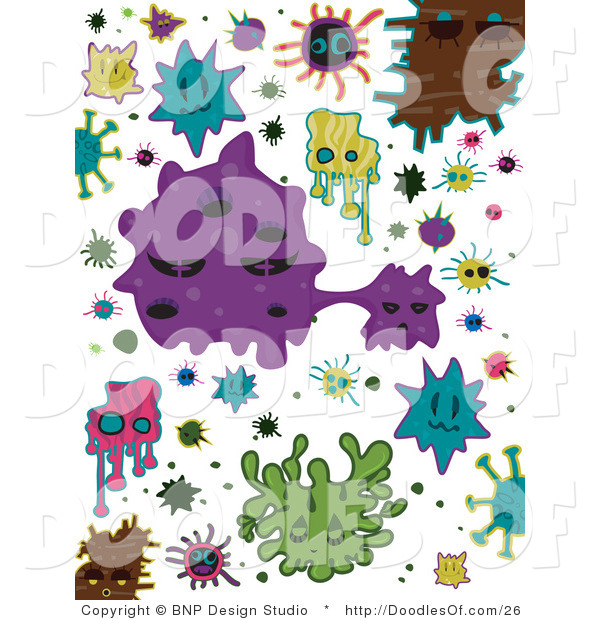 Vector Clipart of Colorful Virus Doodles
