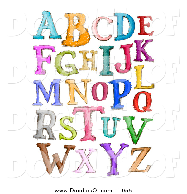Vector Clipart of Doodled Capital Sketched Letters in Different Colors