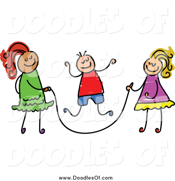 Vector Clipart of Doodled Children Playing with a Jump Rope