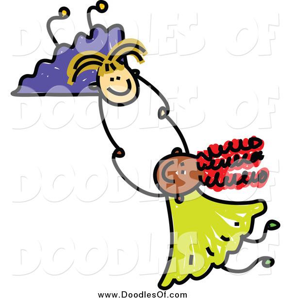 Vector Clipart of Doodled Girls Holding Hands and Fallin