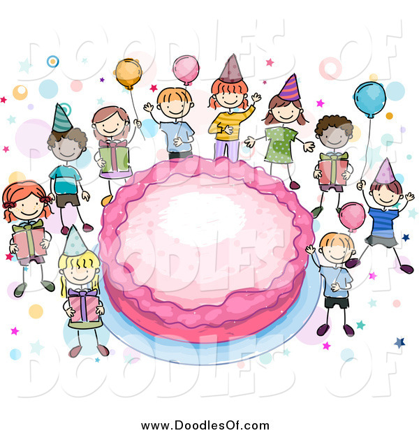 Vector Clipart of Doodled Kids Around a Giant Pink Birthday Cake