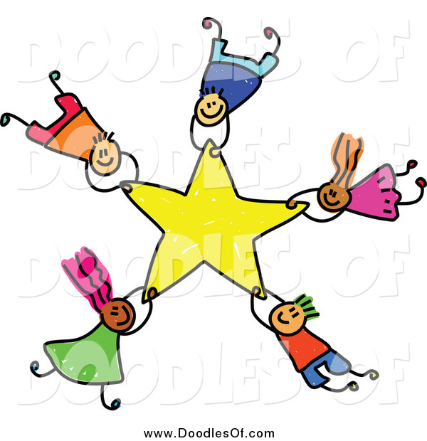 Vector Clipart of Doodled Kids Falling with a Star
