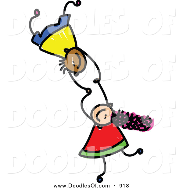 Vector Clipart of Doodled Kids Holding Hands While Falling