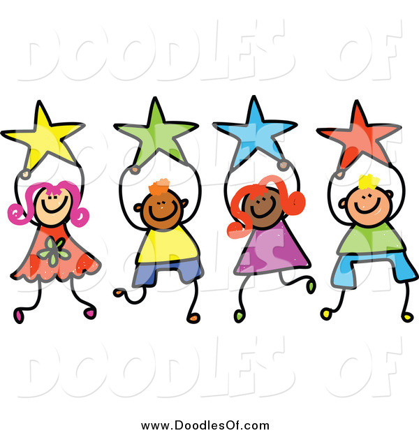 Vector Clipart of Doodled Kids Holding Stars
