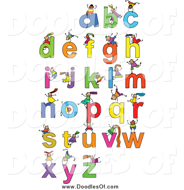 Vector Clipart of Doodled Kids Playing on Letters