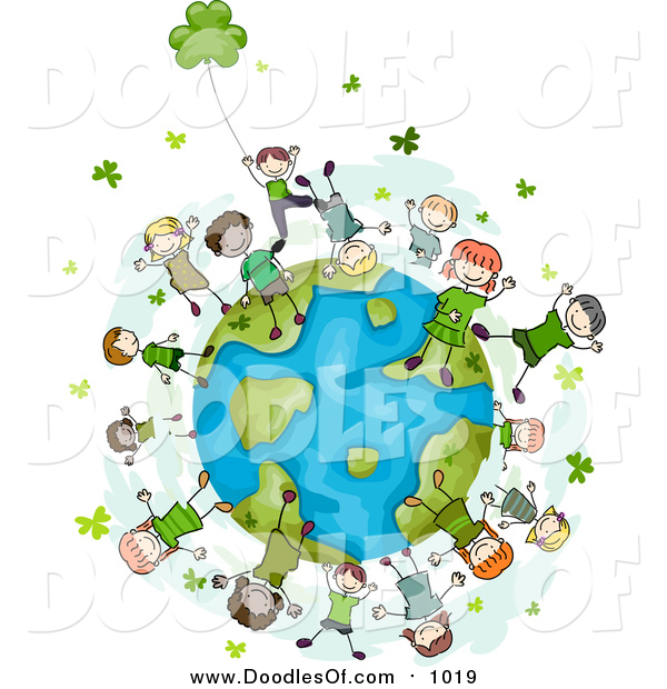 Vector Clipart of Doodled St Patricks Day Kids with Clovers on a Globe