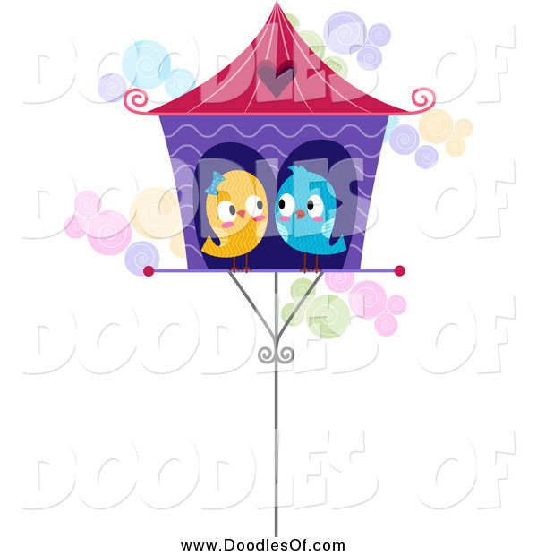 Vector Clipart of Love Birds Cuddled in a House