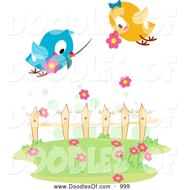 Vector Clipart of Love Birds with Flowers over a Yard