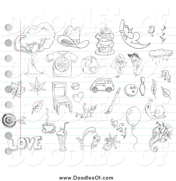Vector Clipart of Random Doodles on Ruled Paper