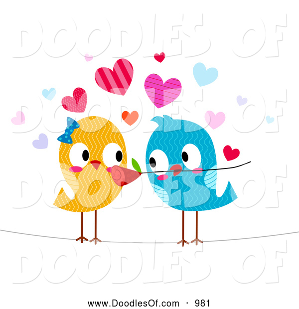 Vector Clipart of Romantic Love Birds with a Flower