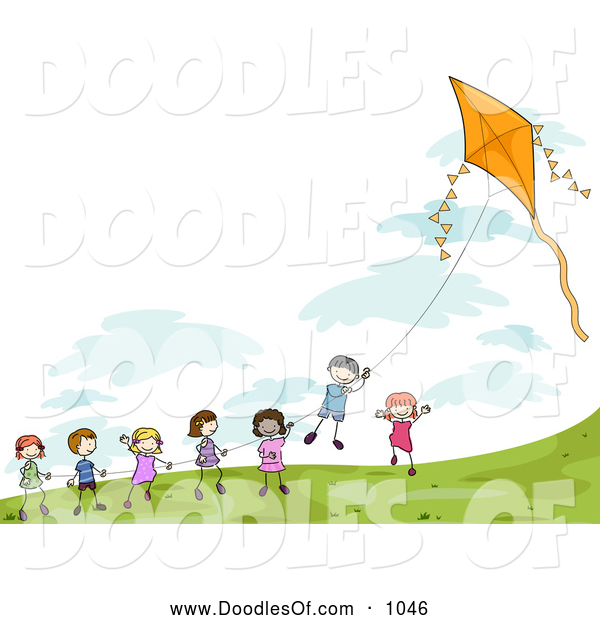 Vector Clipart of Stick Children Playing with a Kite
