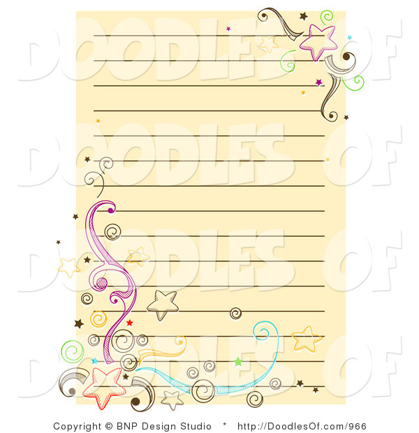 Vector Doodle of Yellow Notepad Paper with Stars and Swirls