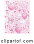 Vector Clipart of a Background of Many Pink Valentine Doodles with Hearts and Cupid by Cory Thoman