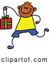 Vector Clipart of a Cheerful Boy Carrying a Gift Box by Prawny