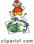 Vector Clipart of a Cheerful Boy Doing a Globe Puzzle by Prawny