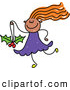 Vector Clipart of a Cheerful Girl Carrying a Holly Christmas Ornament by Prawny