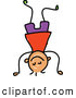 Vector Clipart of a Child's Sketch of a Boy Doing a Hand Stand by Prawny