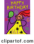 Vector Clipart of a Childs Sketch of a Girl with Happy Birthday Text and Spirals on Purple by Prawny