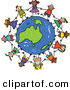 Vector Clipart of a Childs Sketch of a Group of Children Holding Hands Around an Australian Globe by Prawny