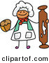 Vector Clipart of a Childs Sketch of a Happy Baker with a Rolling Pin and Muffin by Prawny
