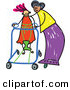 Vector Clipart of a Childs Sketch of a Happy Mother Helping Her Disabled Daughter by Prawny
