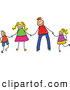 Vector Clipart of a Child's Sketch of a Happy Stick Figure Family Holding Hands by Prawny