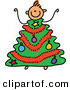 Vector Clipart of a Childs Sketch of a Small Boy with a Christmas Tree Body by Prawny