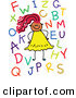 Vector Clipart of a Childs Sketch of a Smiling Girl with Letters by Prawny