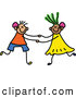 Vector Clipart of a Child's Sketch of a Stick Figure Boy and Girl with Hearing Aids by Prawny