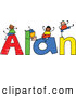 Vector Clipart of a Childs Sketch of Boys Playing on the Colorful Name Alan by Prawny