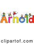 Vector Clipart of a Childs Sketch of Cheerful Boys Playing on the Name Arnold by Prawny
