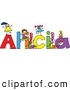Vector Clipart of a Childs Sketch of Cheerful Girls Playing on the Name Alicia by Prawny