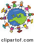 Vector Clipart of a Childs Sketch of Children Holding Hands Around a Globe Centered on Europe by Prawny