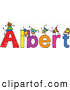 Vector Clipart of a Childs Sketch of Colorful Boys Playing on the Name Albert by Prawny