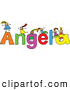 Vector Clipart of a Childs Sketch of Five Girls Playing on the Name Angela by Prawny
