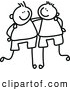 Vector Clipart of a Childs Sketch of Friendly Black and White Boys with Their Arms Around Each Other by Prawny