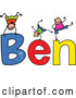 Vector Clipart of a Childs Sketch of Friendly Boys Playing on the Name Ben by Prawny